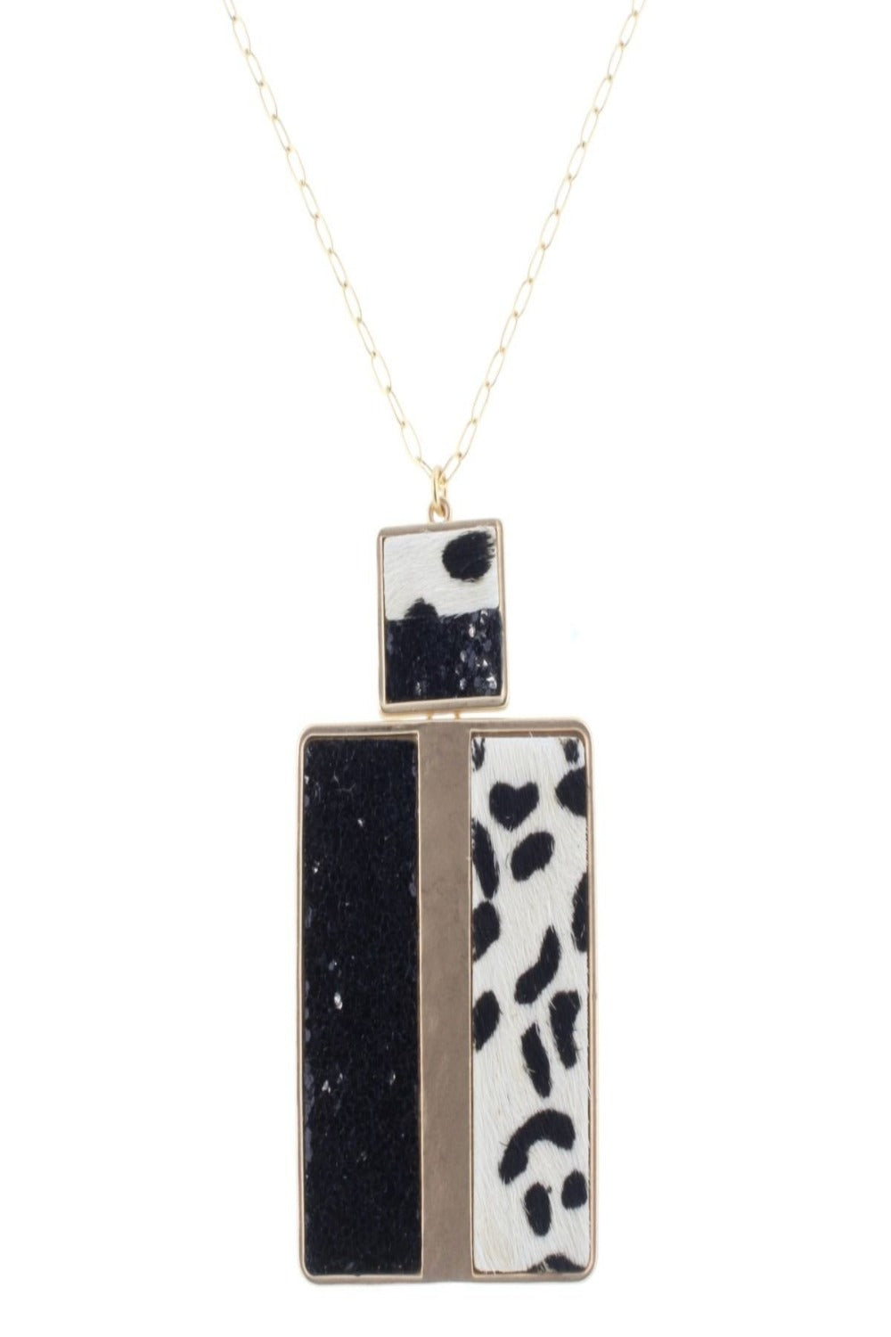 Leopard & Glitter Rectangle Necklace