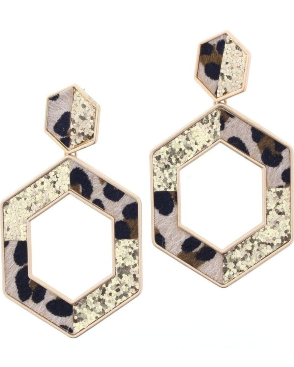 Leopard & Glitter Hexagon Earrings