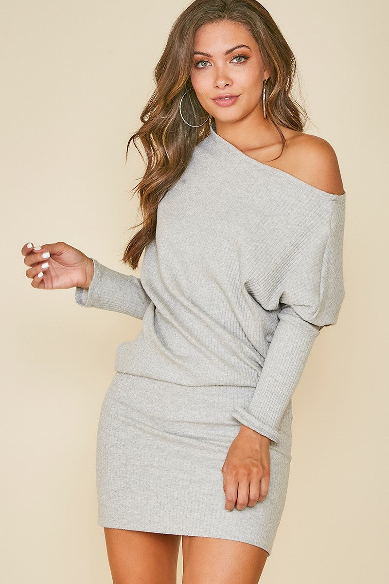 Ribbed On/Off Shoulder Dress - Free Souls Boutique