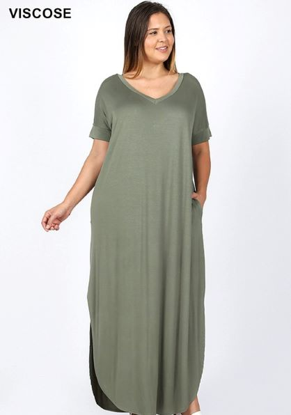 Plus Zen V-Neck Pocket Maxi Dress - Free Souls Boutique