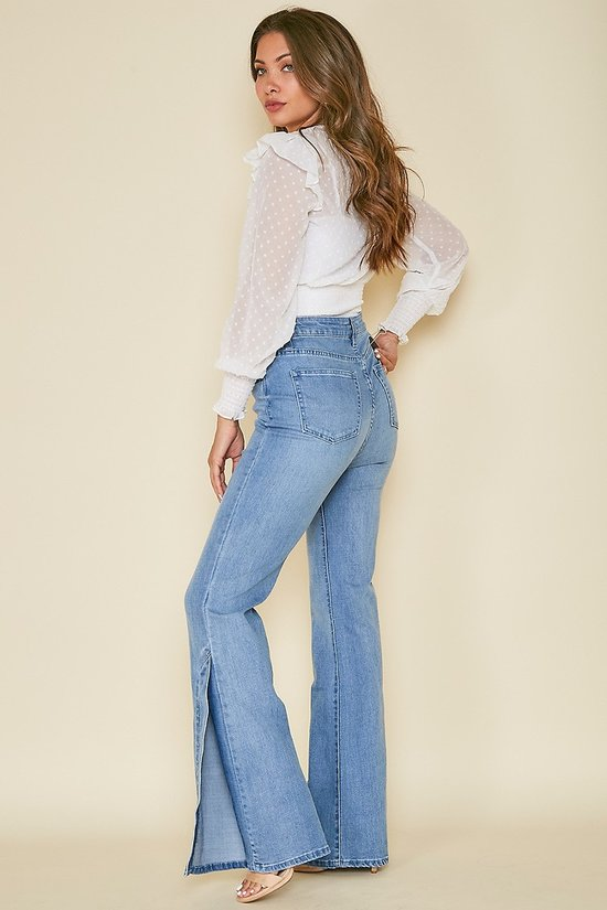 High Waist Side Slit Bootcut Jeans