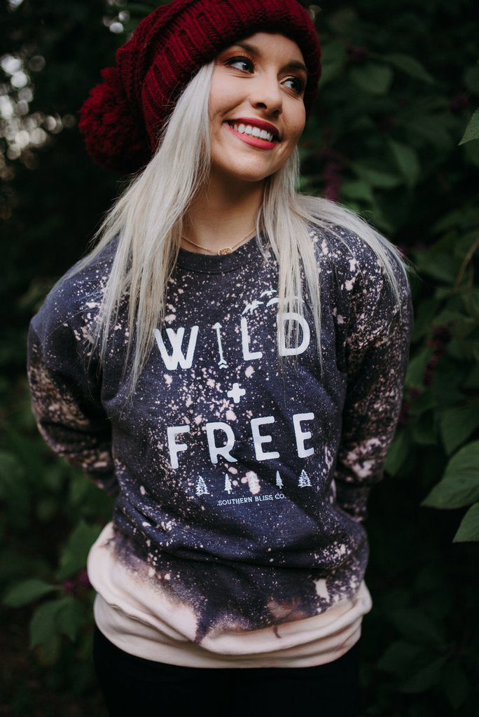 Wild & Free Acid Wash Sweatshirt