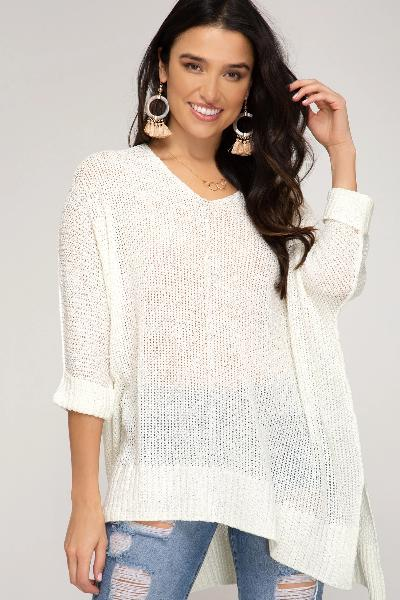 Folded Cuff Sweater - Free Souls Boutique