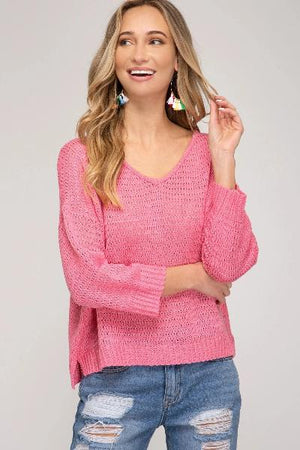 V-Neck Knit Sweater Top - Free Souls Boutique
