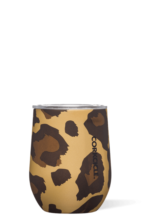 Corkcicle 12 oz Stemless Wine Glass - Luxe Leopard