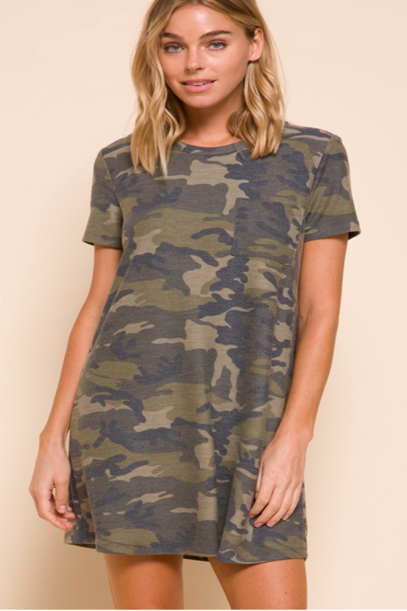 Camo Pocket Mini Dress