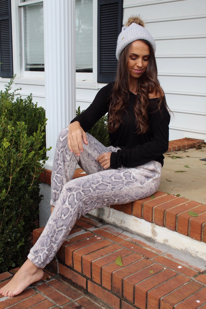 Brushed Snake Print Jogger Pants - Free Souls Boutique