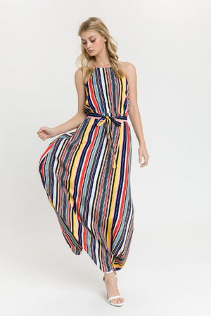 Multi Stripe Halter Maxi Dress - Free Souls Boutique