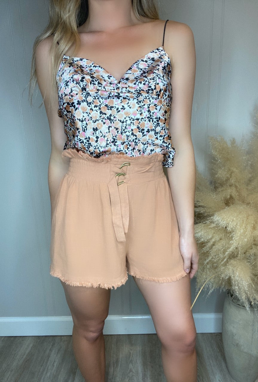 High Waist Elastic Belted Shorts