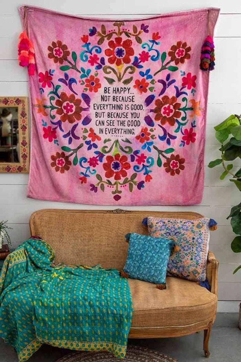 Natural Life- Be Happy Tapestry Blanket