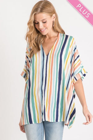 Plus Stripe Woven Short Sleeve Top