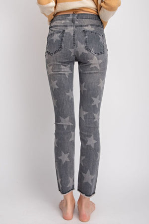 Star Print Distressed Jeans - Free Souls Boutique