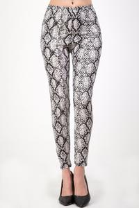 Plus Snake Print Brushed Leggings