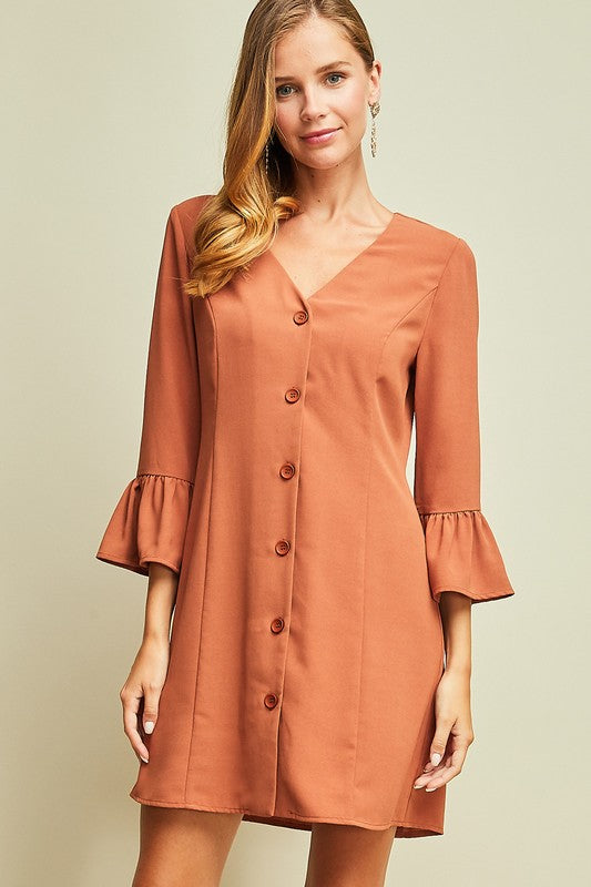 Ruffle Sleeve Button Front Dress - Free Souls Boutique