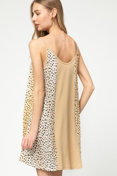 Contrast Cheetah Sleeveless Dress