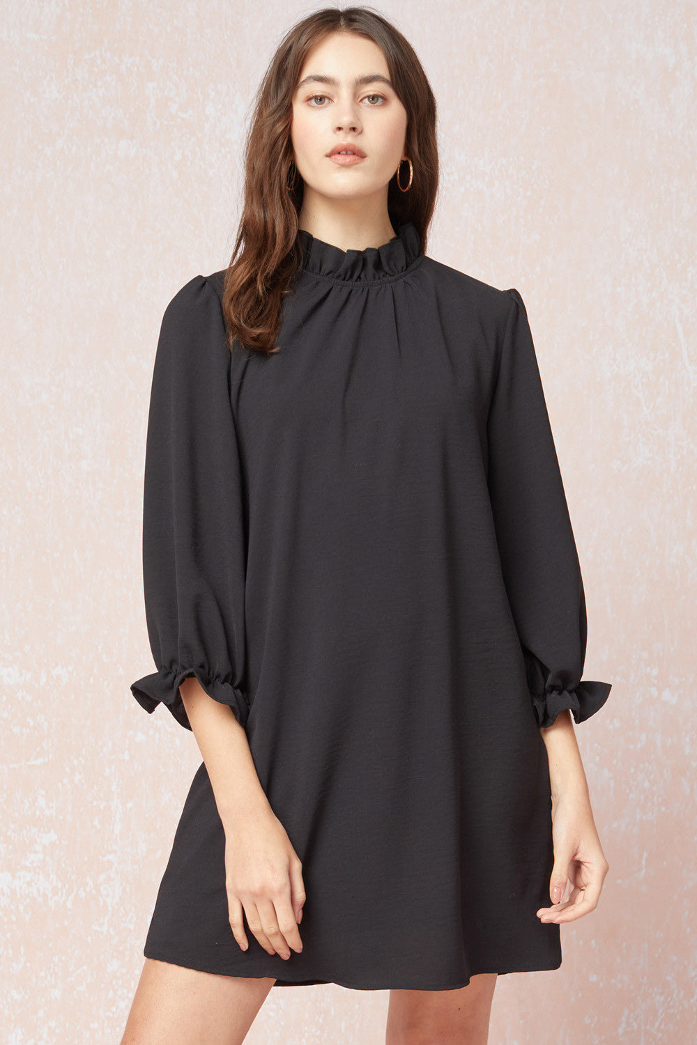 Mock Neck Solid Dress