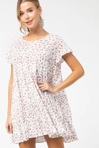 Spotted Print Tiered Dress - Free Souls Boutique