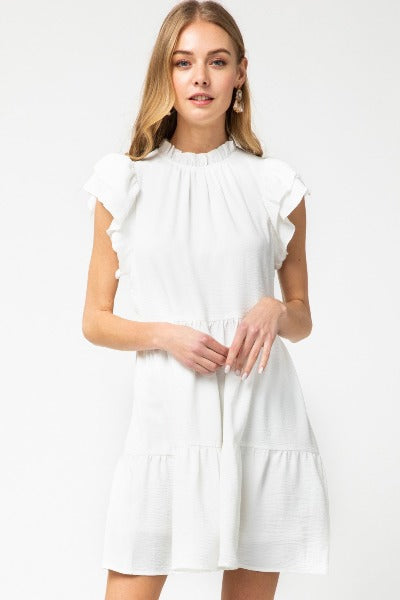 Frill Mock Neck Tiered Dress