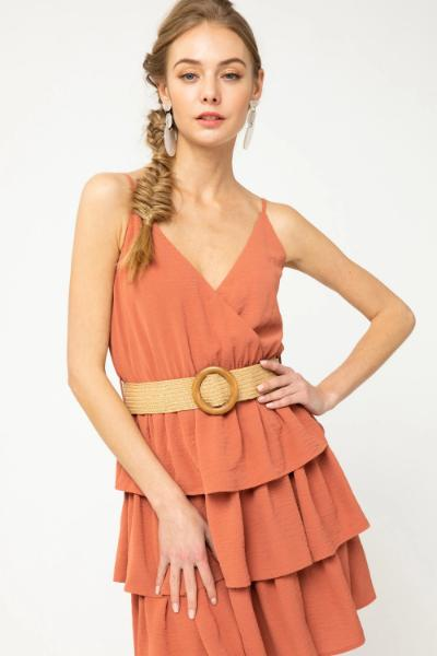Belted Sleeveless Ruffle Bottom Dress