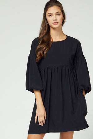 Puff Sleeve Solid Dress