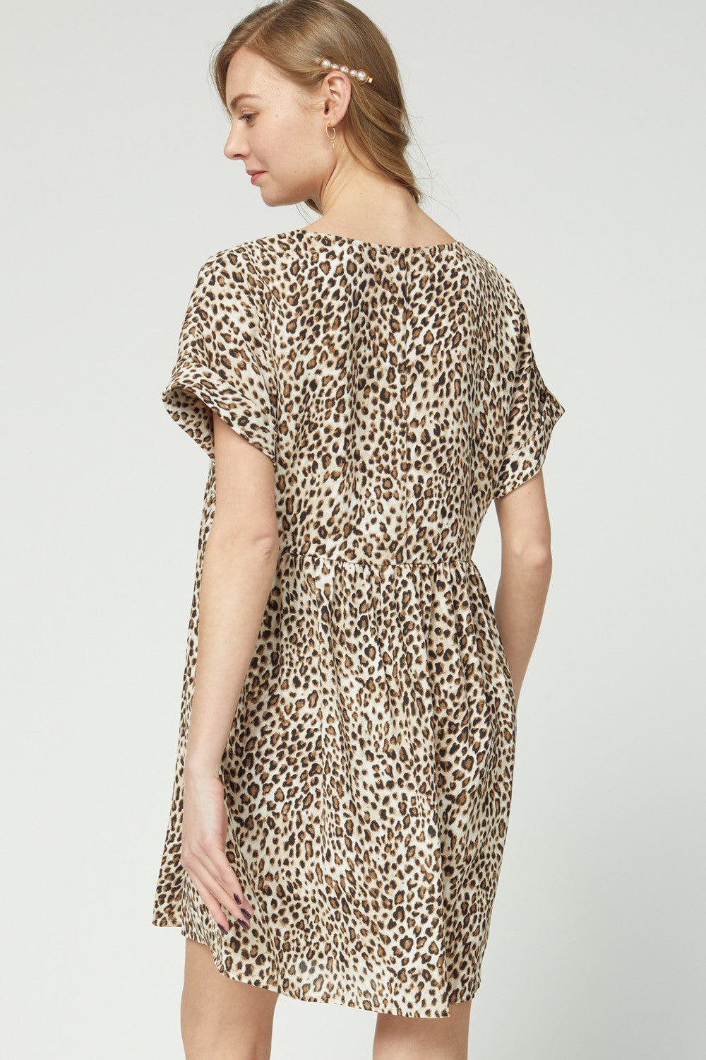 Leopard V-Neck Woven Dress