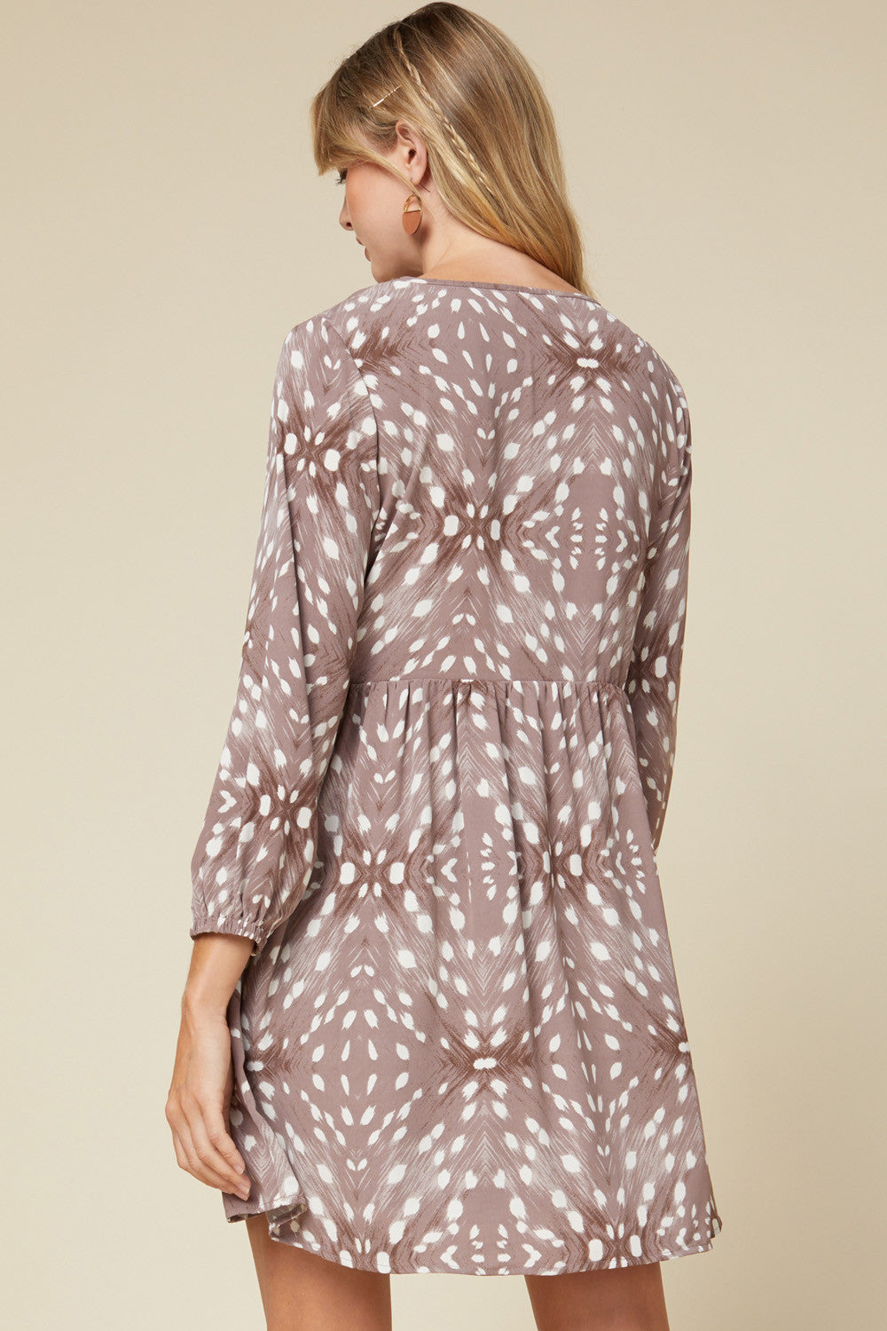 Printed V-Neck Yoke Dress