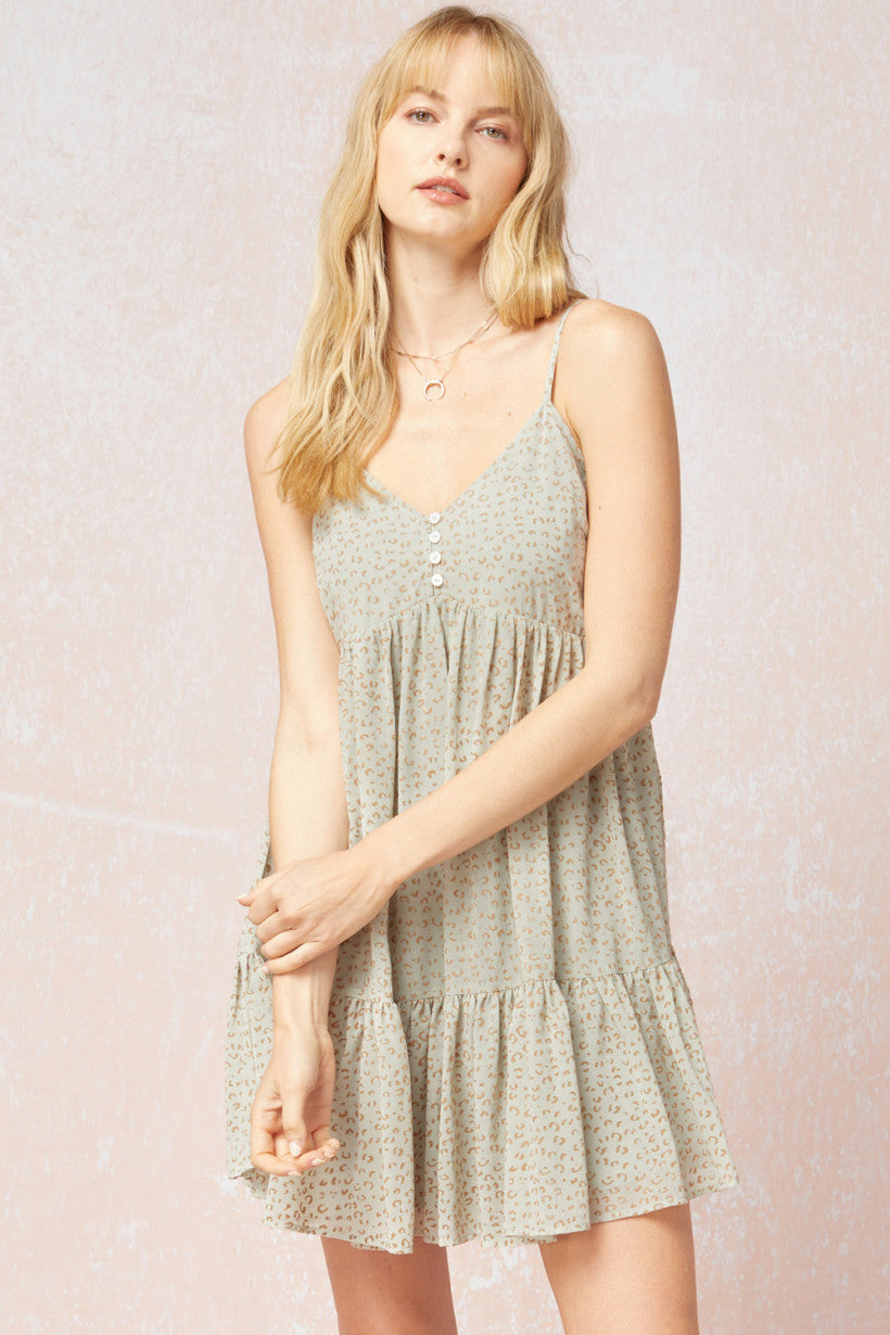 Floral Ruffle Trim Sleeveless Dress