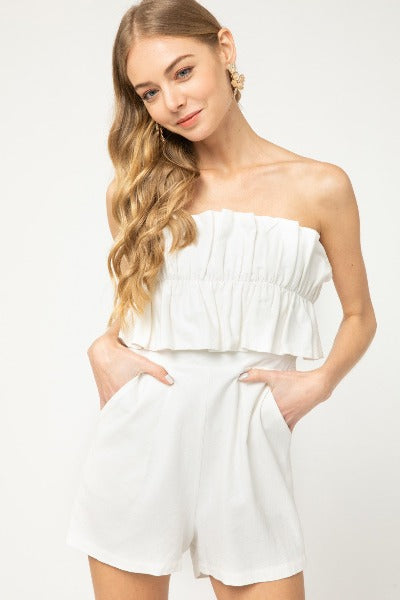 Ruffle Bust Strapless Romper