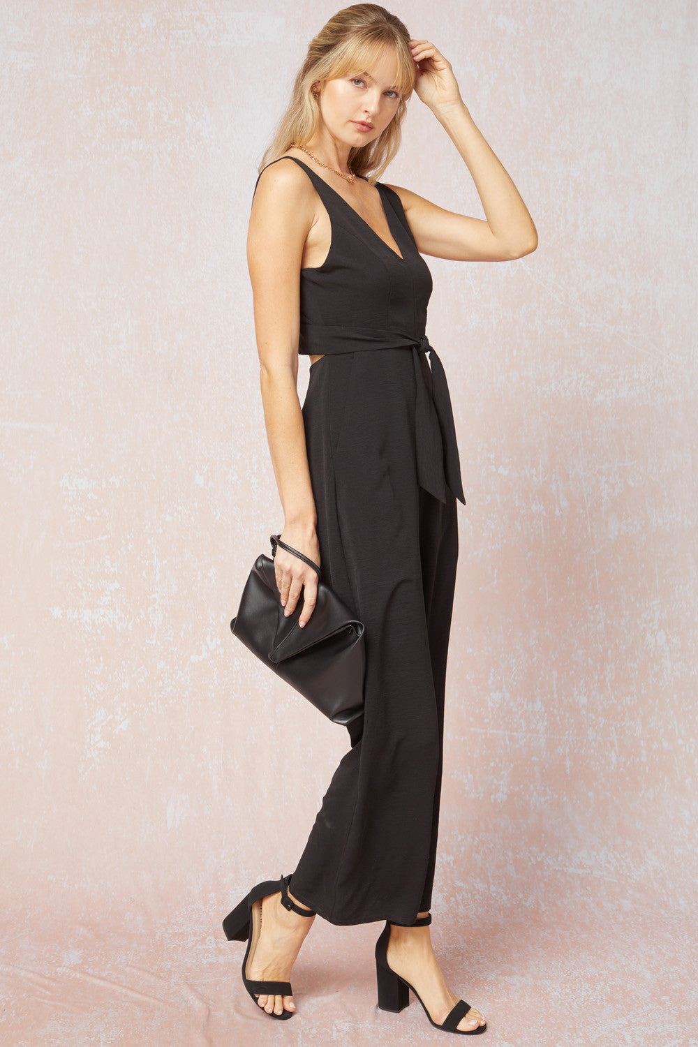 Solid Sleeveless Woven Jumpsuit