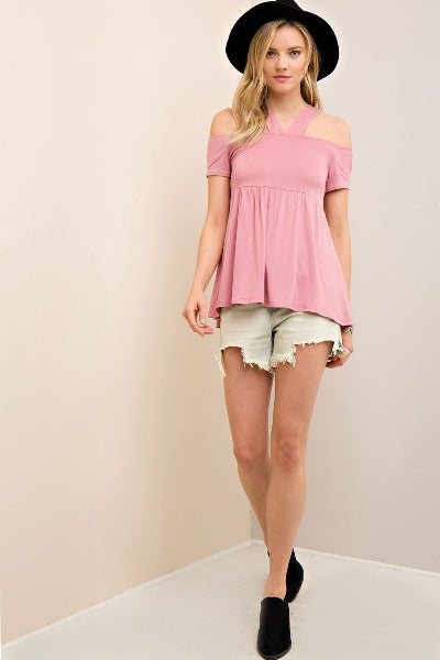 Open Shoulder Empire Waist Top