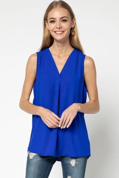 Sleeveless V-Neck Placket Detail Top