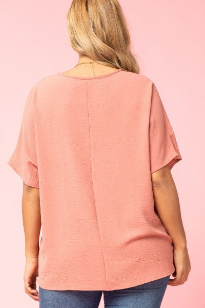 Plus Asymmetric V-Neck Top