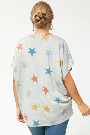 Plus Star Print V-Neck Top - Free Souls Boutique