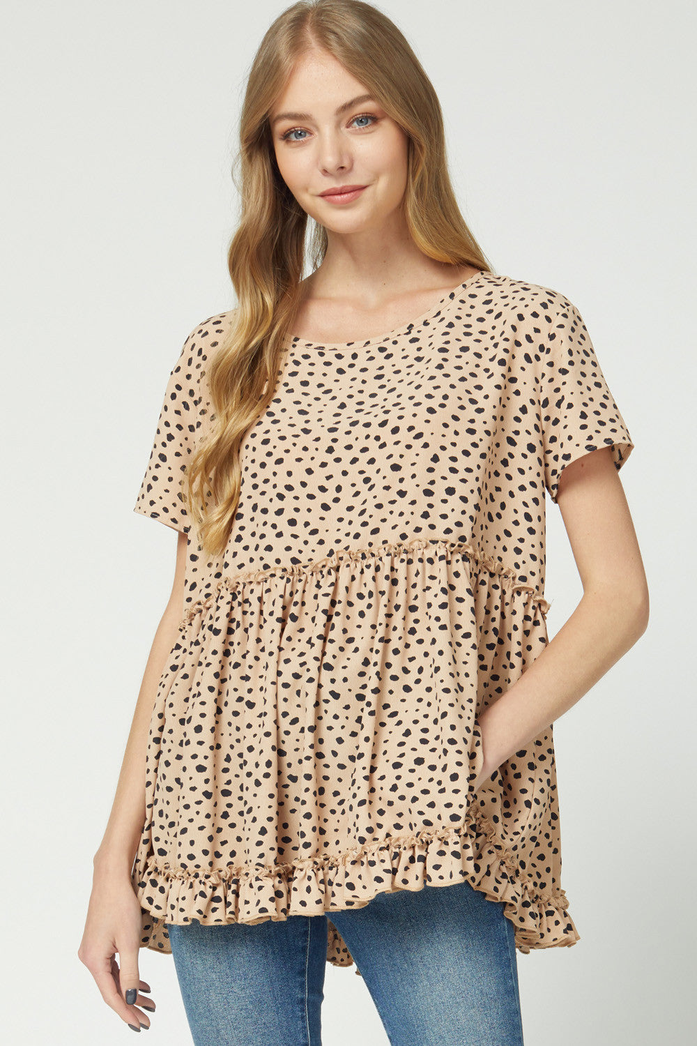 Ruffle Spotted Babydoll Top