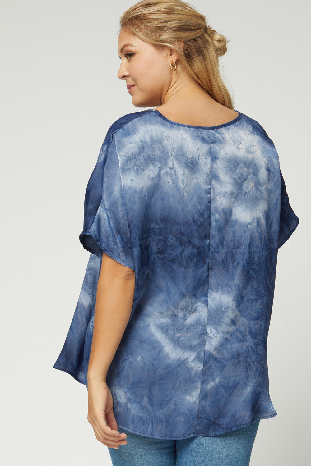 Plus Asymmetric Tie Dye V-Neck Top