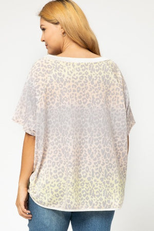 Plus Contrast Neck Leopard Top