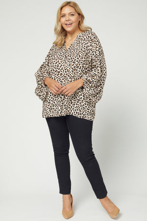 Plus Leopard Puff Sleeve Top
