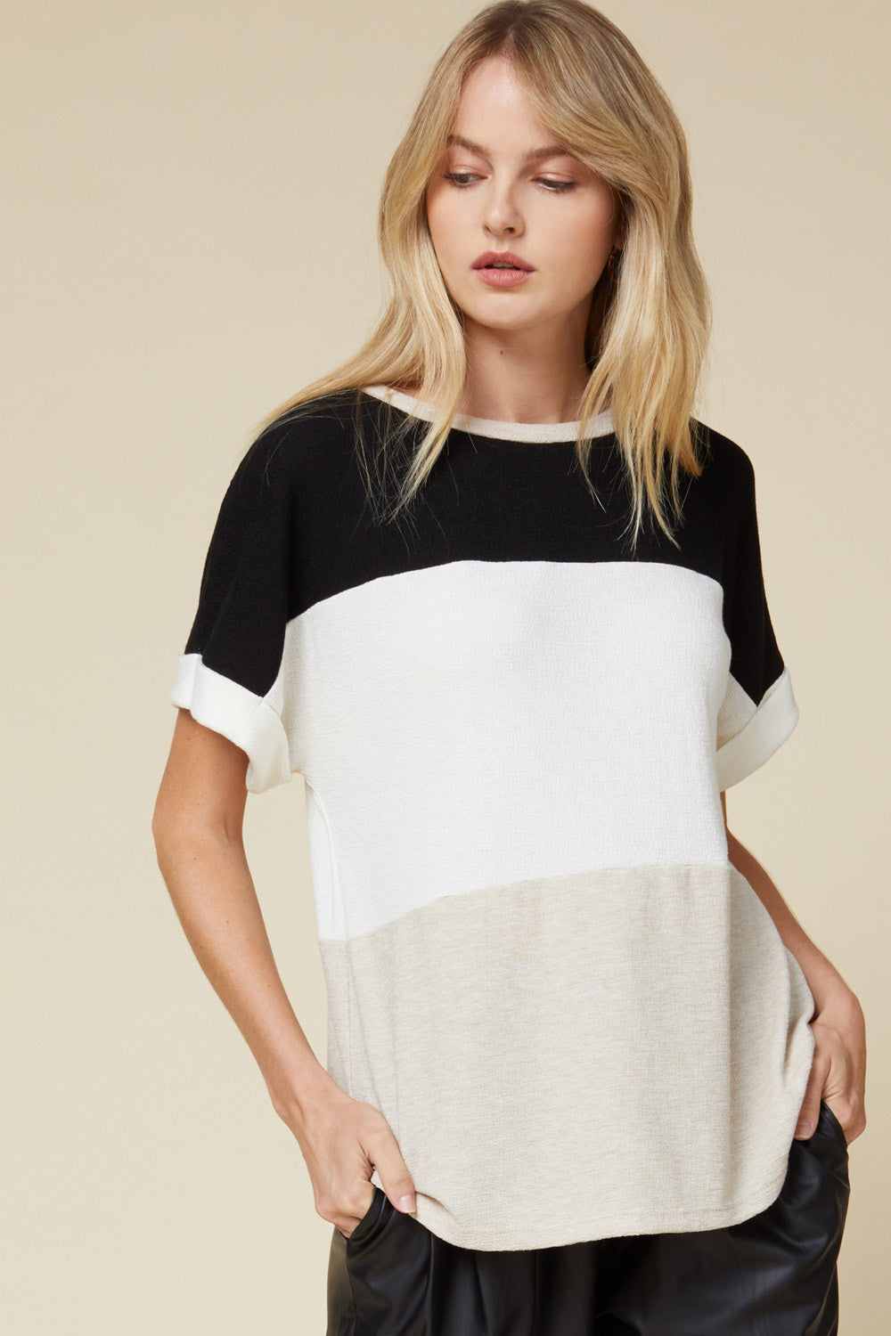 Colorblock Roll Sleeve Top