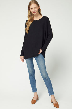 Ribbed Sleeve Brushed Top