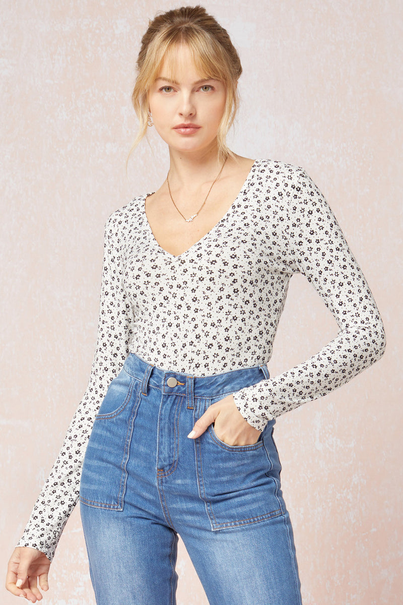 Floral LS Bodysuit Top