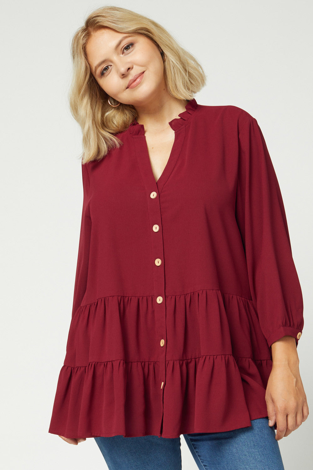 Plus Frill Neck Button Tiered Top