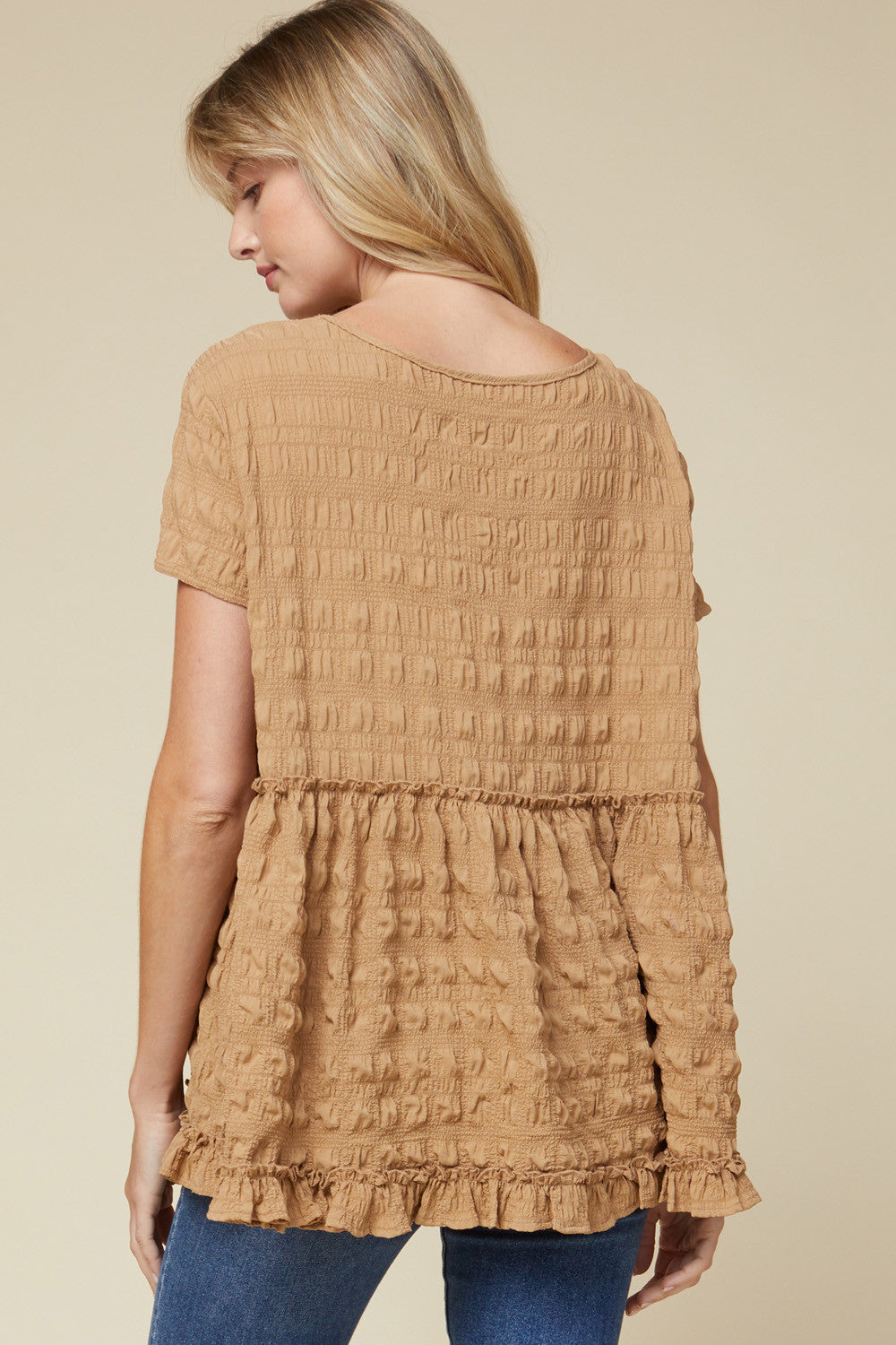 Textured Frill Trim Babydoll Top