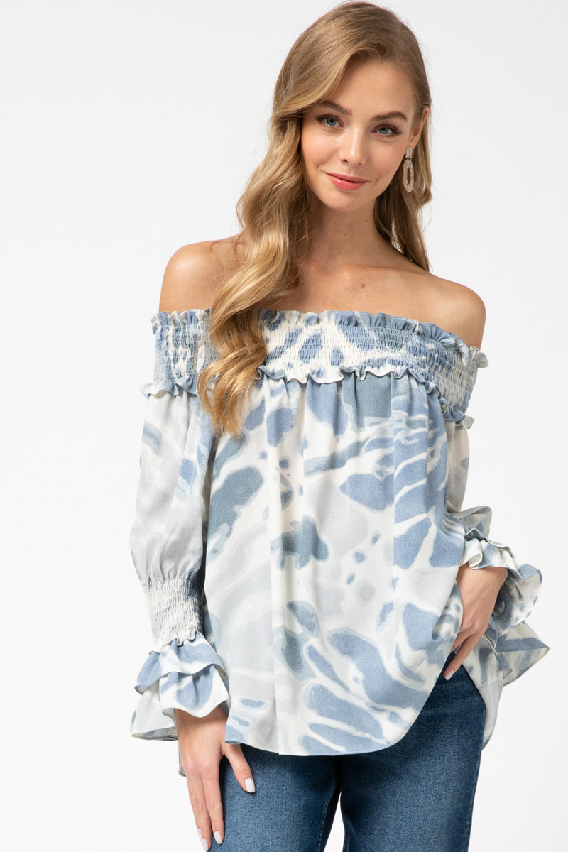 Tie Dye Off Shoulder Ruffle Sleeve Top - Free Souls Boutique