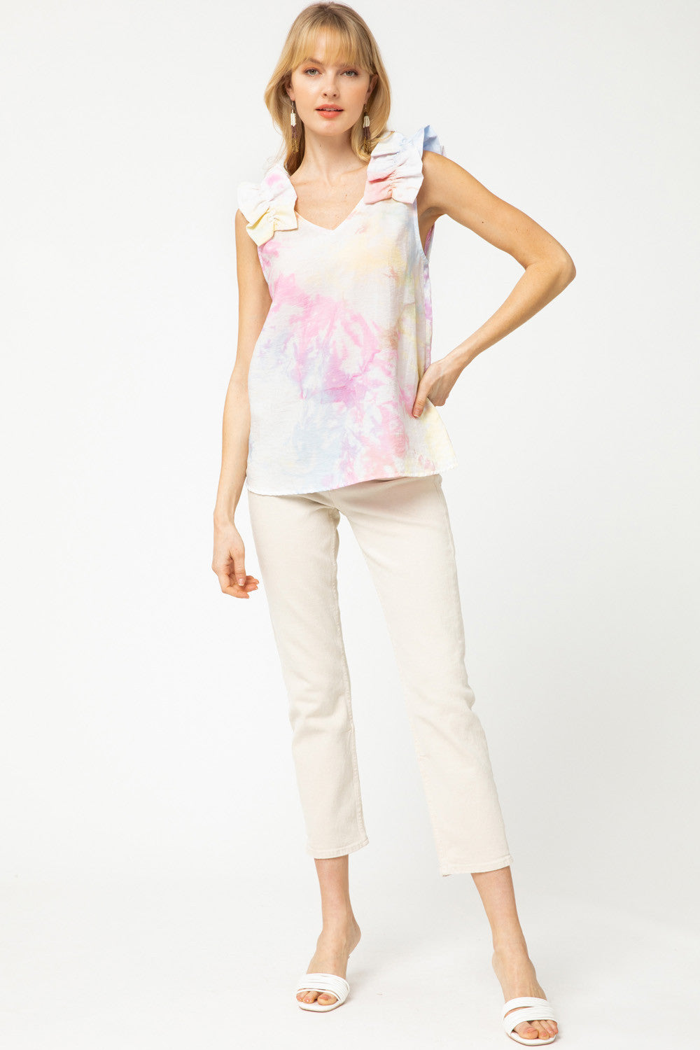 Tie Dye Ruffle Shoulder Sleeveless Top