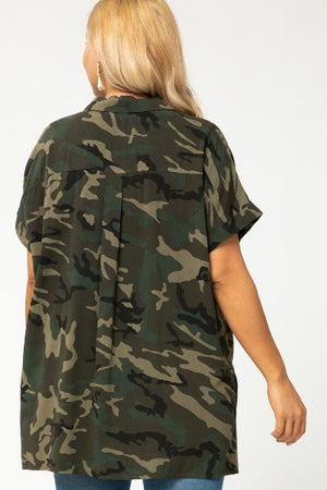 Plus Camo Asym Button Up Top