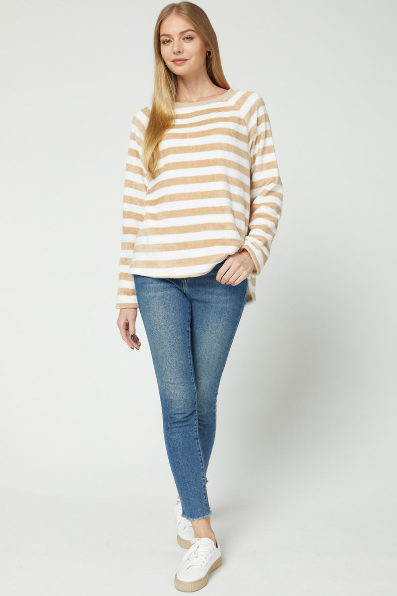 Stripe Velour Pullover Top