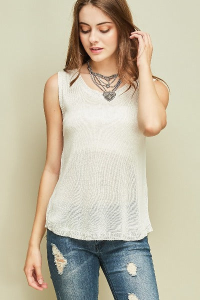 Cutout Back Sleeveless Sweater Top