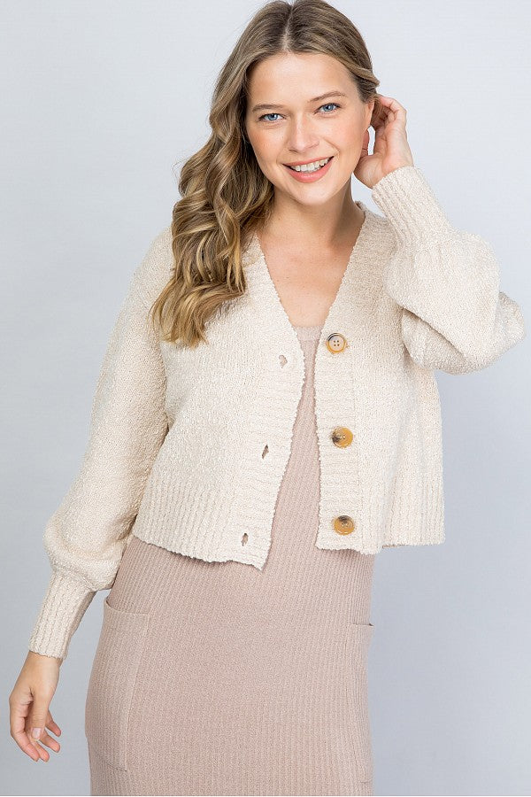 Button Front Crop Cardigan