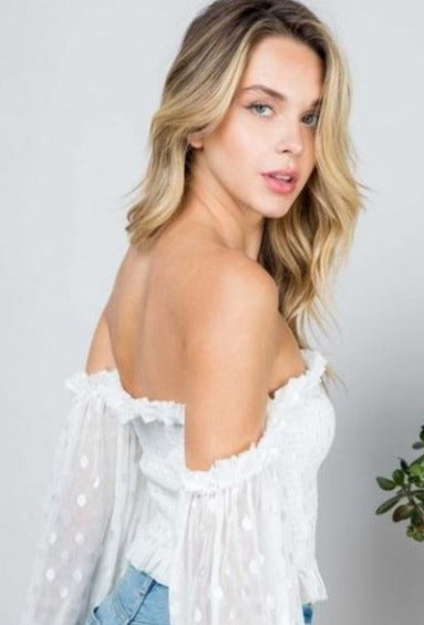 Mesh Off Shoulder Top