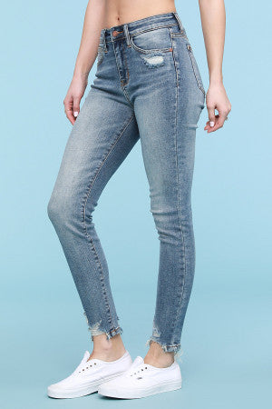 Distressed Hem High Waist Jeans